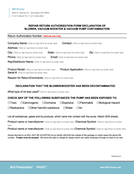 MD-Kinney Repair Return Authorization Form-M-35R 033021-min